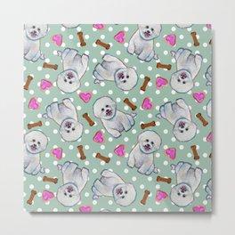Fun Bichon Frise Pattern on Polka Dots Metal Print