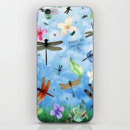 There Be Dragons Whimsical Dragonfly Art iPhone Skin