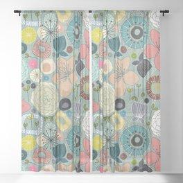 oriental blooms Sheer Curtain