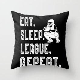 eat sleep leauge repeat baseball softbal Throw Pillow