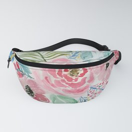 Pretty watercolor hand paint floral artwork. Fanny Pack