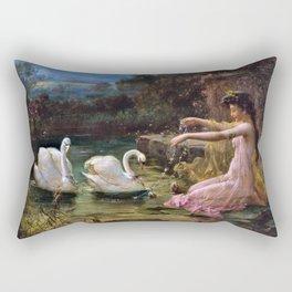 Swan At The Lake - Hans Zatzka Rectangular Pillow