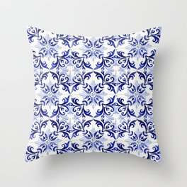 Azulejo V - Portuguese hand painted tiles Throw Pillow