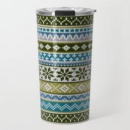 Fair Isle Green - Blue Travel Mug