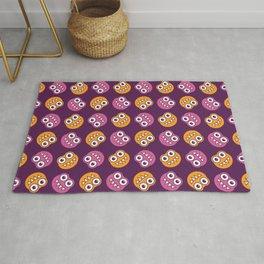 Purple Pink And Orange Bugs Pattern Rug