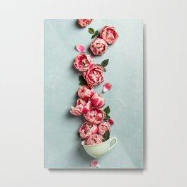 tea cup with pink flowers Metal Print