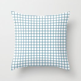 Blue Grid Pattern Throw Pillow