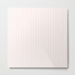 Classic Small Pink Rosebud Pastel Pink French Mattress Ticking Double Stripes Metal Print