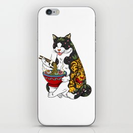 Cat eating Chinese Noodles with Tiger Tattoo iPhone Skin