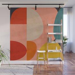 geometry shape mid century organic blush curry teal Wall Mural