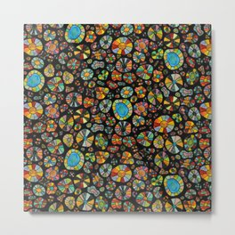 Barca Dots Pattern multicolor/black Metal Print