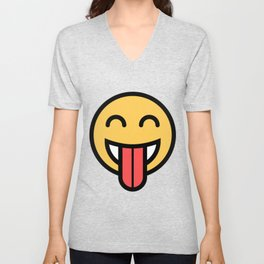 Smiley Face   Big Tongue Out Unisex V-Neck