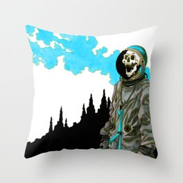 Silent Scream - Blue Throw Pillow