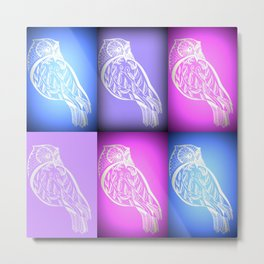 pink and blue and purple owls Metal Print