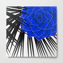 Big Bold Indigo Echeveria Illustration Metal Print