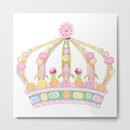 sugar sweet candy crown with pastel colors decor Metal Print