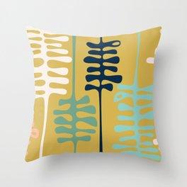 Abstract jungle - mustard Throw Pillow