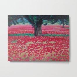Olive Tree in Poppy Field Metal Print