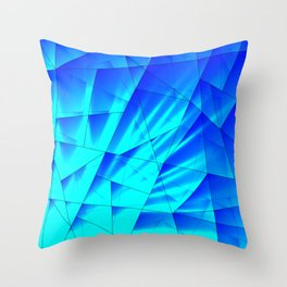 Bright sunshine on celestial and blue triangles of irregular shape. Throw Pillow