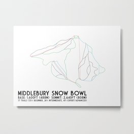Middlebury Snow Bowl, VT - Minimalist Trail Art Metal Print