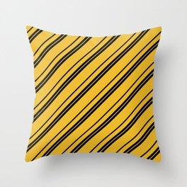 Potterverse Stripes - Hufflepuff Yellow Throw Pillow