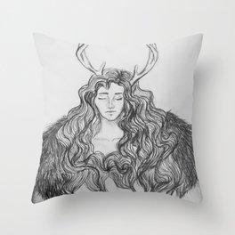 hybrid - deer/human Throw Pillow