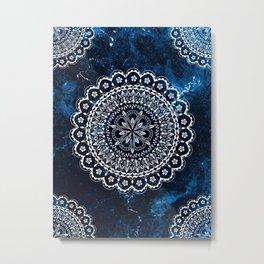 Moroccan Mandala on blue ink Metal Print