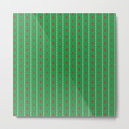 Christmas vector red and white vertical stitches aligned on green background Metal Print