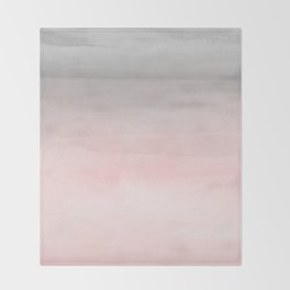 Blushing Pink & Grey Watercolor Throw Blanket