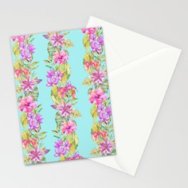 Luscious Jungle Flower And Leaf Stripes on Turquoise Stationery Cards