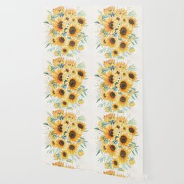 Loose Watercolor Sunflowers Wallpaper