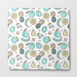 Cute Fruit Pattern Summery Line Drawing Metal Print