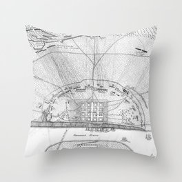 Vintage Map of The Siege of Savannah GA (1779) Throw Pillow
