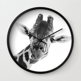 Giraffe Portrait // Grey Wild Animal Cute Zoo Safari Madagascar Wildlife Nursery Decor Ideas Wall Clock