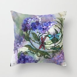 Purple Circle of Lilacs by SK Throw Pillow