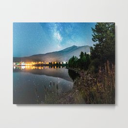 Grainy Nighttime Tones // Lake View Fuzzy Lens Photograph Beautiful Landscape with Mountains Metal Print