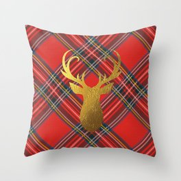 Gold Stag Head On Red Tartan Throw Pillow