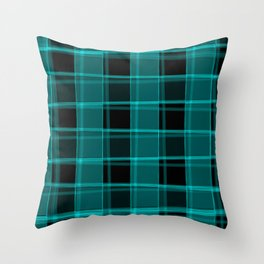 Strict strokes of light and light blue cells with bright stripes. Throw Pillow