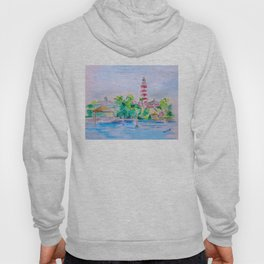 Elbow Reef Lighthouse Hope Town, Abaco, Bahamas Watercolor painting Hoody