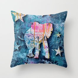 Elephant in Space Throw Pillow