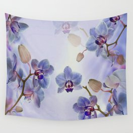 Watercolor Purple Orchids Wall Tapestry