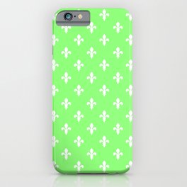 Fleur-de-Lis (White & Light Green Pattern) iPhone Case