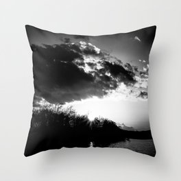 Sundown At Lake Heve bw Throw Pillow