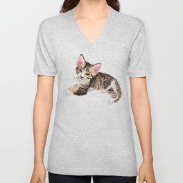 Brown Tabby Baby Cat Unisex V-Neck