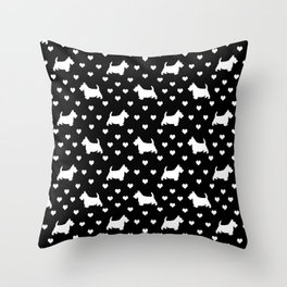 Cute White Scottish Terriers (Scottie Dogs) & Hearts on Black Background Throw Pillow