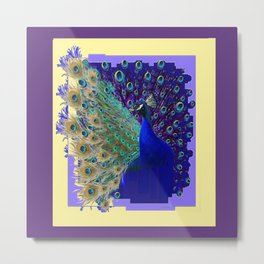 Puce Purple Blue Peacock Abstract Art Metal Print