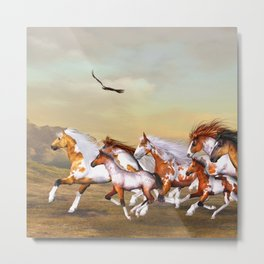 Wild Horses Herd Metal Print