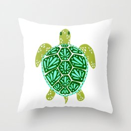 Sea Turtle – Green Palette Throw Pillow