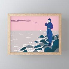 Woman by the sea Framed Mini Art Print