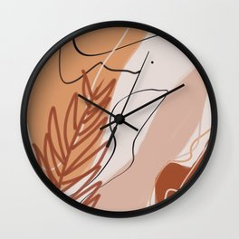 Earth tone palm leaf abstract Wall Clock